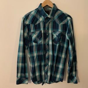 7 Diamonds snap button dress shirt men's L